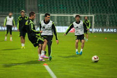 ZILINA, SLOVAKIA - OCTOBER 8, 2014: Spain national team players. Take part in a training session ahead of their UEFA EURO 2016 qualifier against Slovakia royalty free stock photos