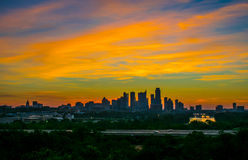 Zilker Park Clubhouse Amazing Display of Colors in the Sky Austin. Austin Texas Downtown Sun rise Silhouette Towers Panoramic Royalty Free Stock Images
