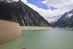 Zillergründl-Verdammung im Schlegeis-Reservoir, Aust Lizenzfreies Stockfoto