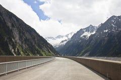 Zillergründl Dam against Schlegeis Kees, Austria Royalty Free Stock Images