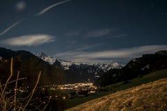 zillertal的晚上 免版税库存图片