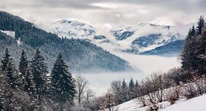 Zillertal ad un giorno di inverno, Tirolo, alpi austriache Fotografia Stock