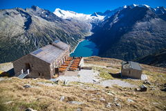 Zillertal in Austria. Cottage high above the Schlegeisspeicher in Zillertal Royalty Free Stock Photography