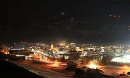 Zillertal bij nacht stock afbeelding