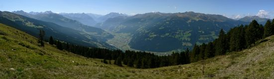 Zillertal in Summer. View over the valley Zillertal in Austria in summer Royalty Free Stock Image