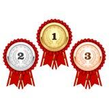 Zilver, brons en gouden medailles - toekenning Royalty-vrije Stock Foto's