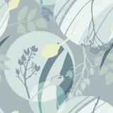Zilverachtige cirkels, groene, gouden, grijze bloemen en bladeren Abstract bloemenpatroon in grijs-groene kleuren Naadloos patroo stock illustratie
