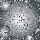 Zilverachtige patronen als achtergrond Grijze achtergrond met zilveren kantpatronen vector illustratie