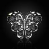 Zilveren abstracte vlinder op zwarte achtergrond stock illustratie