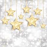 Zilveren achtergrond met gouden sterren en twinkly lichten Stock Afbeeldingen