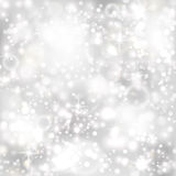 Zilveren achtergrond met sterren en twinkly lichten royalty-vrije illustratie