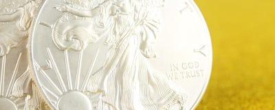 Zilveren adelaar en gouden Amerikaanse adelaar ??n onsmuntstukken op gouden achtergrond royalty-vrije stock afbeeldingen