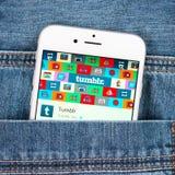 Zilveren Apple-iphone 6 die Tumblr-toepassing tonen Royalty-vrije Stock Foto's