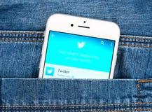 Zilveren Apple-iphone 6 die Twitter-toepassing tonen Stock Foto's