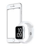 Zilveren Apple-iPhone 6s en Zilveren Apple-Horlogesport Stock Afbeelding