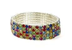 Zilveren armband met kleurenjuwelen royalty-vrije stock afbeeldingen