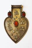 Zilveren artefact in vorm van hart Stock Fotografie