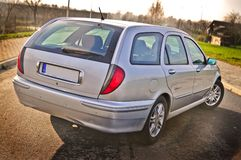 Zilveren auto Stock Foto's