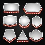 Zilveren bannerskader met lichten Royalty-vrije Stock Fotografie