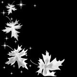 Zilveren bladeren op zwarte achtergrond Stock Foto's