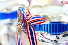 Zilveren & Blauwe metaaltrofee royalty-vrije stock afbeelding