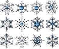 Zilveren-blauwe Sneeuwvlokken royalty-vrije illustratie