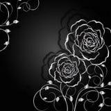 Zilveren bloemen met schaduw op donkere achtergrond Stock Fotografie