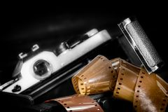 zilveren camera Stock Afbeeldingen