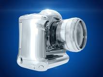 zilveren camera het 3d teruggeven Stock Fotografie