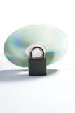 Zilveren CD met slot Stock Foto's