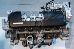 Zilveren Chrome-Vrachtwagensmotor Stock Fotografie