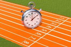 Zilveren chronometer, chronometer op de renbaan het 3d teruggeven royalty-vrije illustratie