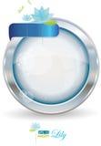 Zilveren cirkelframe met water lilly stock illustratie