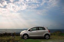 Zilveren Compacte Auto stock fotografie