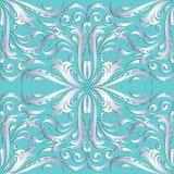 Zilveren 3d bloemen naadloos patroon Vector turkoois damast backg Stock Fotografie