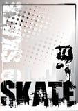 Zilveren de afficheachtergrond 1 van het skateboard stock illustratie