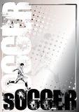 Zilveren de afficheachtergrond 1 van het voetbal Royalty-vrije Stock Afbeeldingen