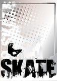 Zilveren de afficheachtergrond 2 van het skateboard Royalty-vrije Stock Foto's