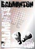Zilveren de afficheachtergrond van het badminton Royalty-vrije Stock Afbeeldingen