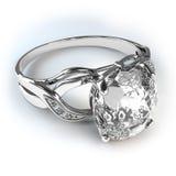Zilveren de diamantring van het huwelijk stock afbeeldingen