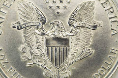 Zilveren de macro van het dollarmuntstuk Royalty-vrije Stock Fotografie