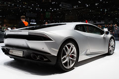 Zilveren de Motorshow 2015 van Lamborghini Huracan Genève Stock Afbeelding