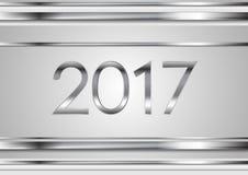 zilveren de strepen abstracte achtergrond van technologie van 2017 stock illustratie