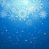 Zilveren de winter abstracte achtergrond Kerstmis met sneeuwvlokken Vector stock illustratie