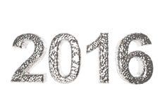 2016 in Zilveren Deklaag op een witte achtergrond stock illustratie
