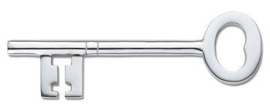 Zilveren deursleutel die op wit (het knippen weg) wordt geïsoleerdu Stock Foto