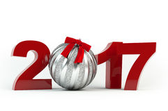Zilveren die bal met lint wordt verfraaid Kerstmis en Nieuwjaar 2017 decoratie Stock Afbeelding