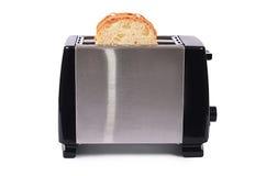Zilveren die broodrooster op witte achtergrond wordt geïsoleerd Royalty-vrije Stock Foto's