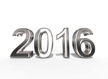 2016 in Zilveren die Deklaag op een witte achtergrond wordt geïsoleerd stock illustratie