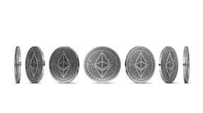 Zilveren die Ethereum-muntstuk vanuit zeven die invalshoeken wordt getoond op witte achtergrond worden geïsoleerd Gemakkelijk om  royalty-vrije illustratie
